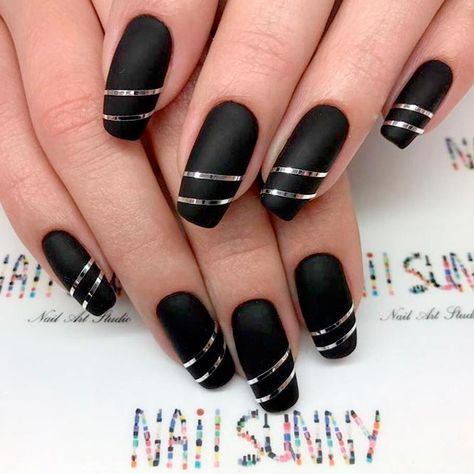 Top Most Creative Black Acrylic Nails Designs ☆ See more:  https://naildesignsjournal - Top Most Creative Black Acrylic Nails Designs Black Acrylic Nails