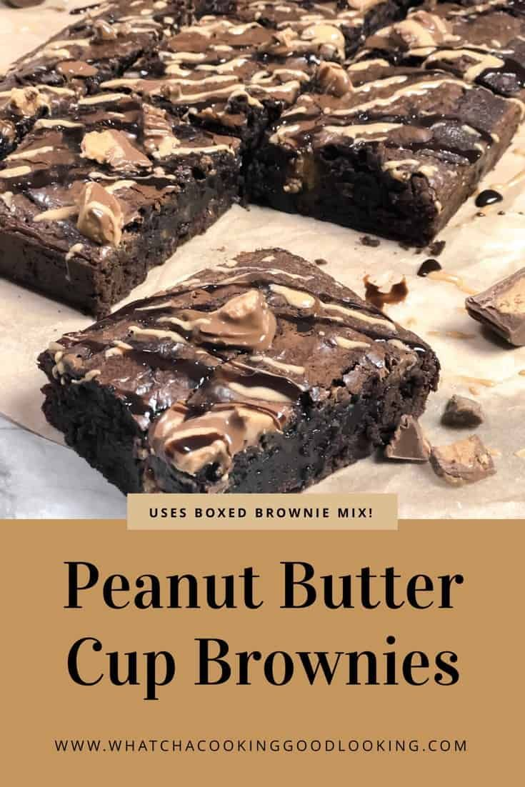 Peanut Butter Cup Brownies is such an easy dessert recipe to make. The recipe uses boxed brownie mix, adds in some Hershey chocolate syrup, and chopped Reeses Peanut Butter Cups and bakes it to perfection. Top with a peanut butter drizzle and you're set! Best chocolate peanut butter dessert recipe!