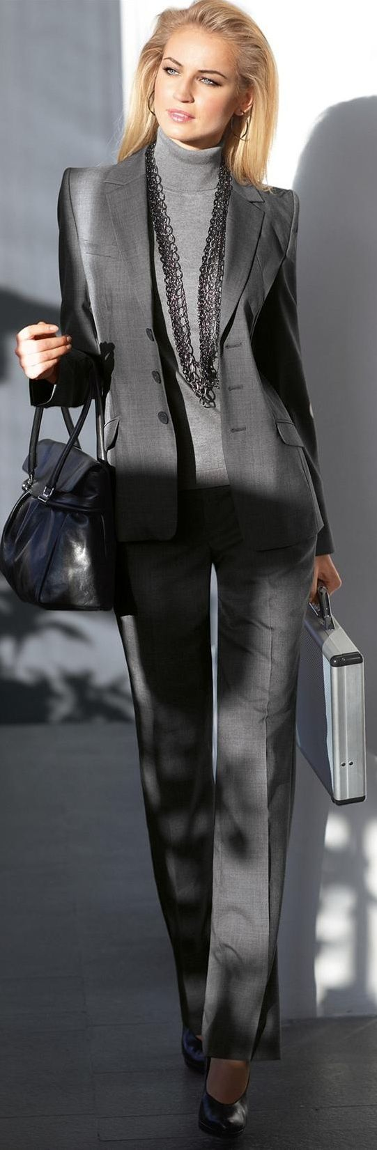 elegant grey office outfit with turtleneck cashmere pullover... Aldo Substitute all black w long necklace