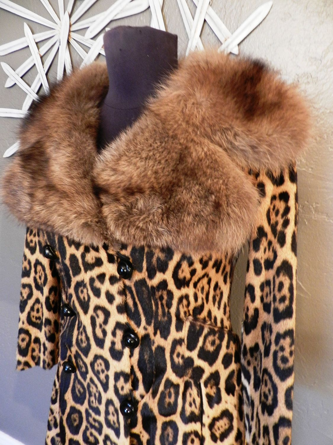 Vintage Leopard Coat Animal Print Fashion Leopard