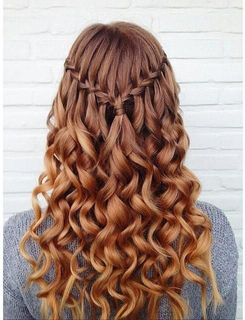 Simple Waterfall Braid With Curly Long Hair Hair Styles Hot Hair Styles Long Hair Styles