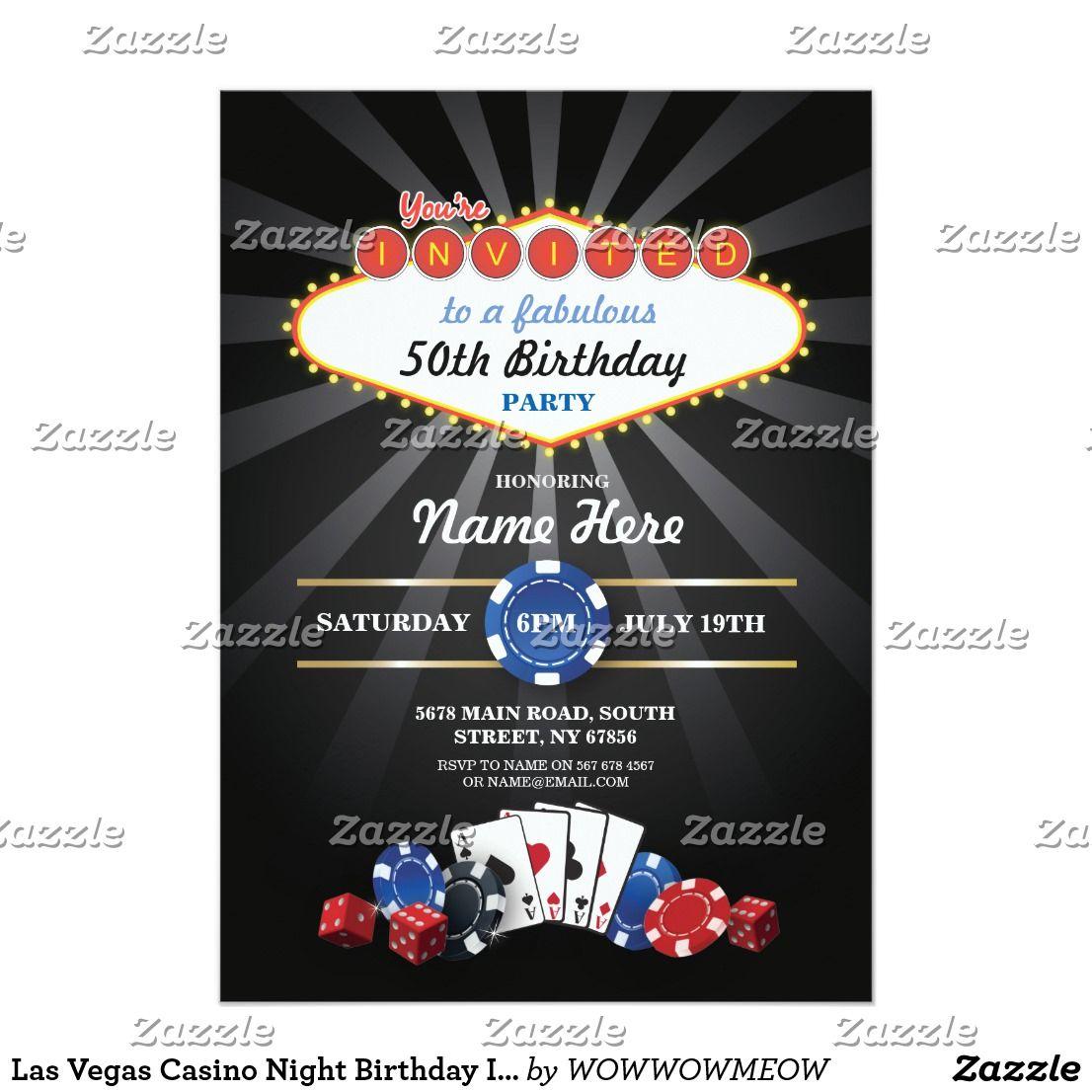 Las Vegas Casino Night Birthday Invite Party | Las vegas casinos ...