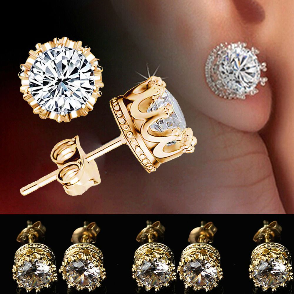 Gold plated stud crown round crystal earrings 6mm cz cubic