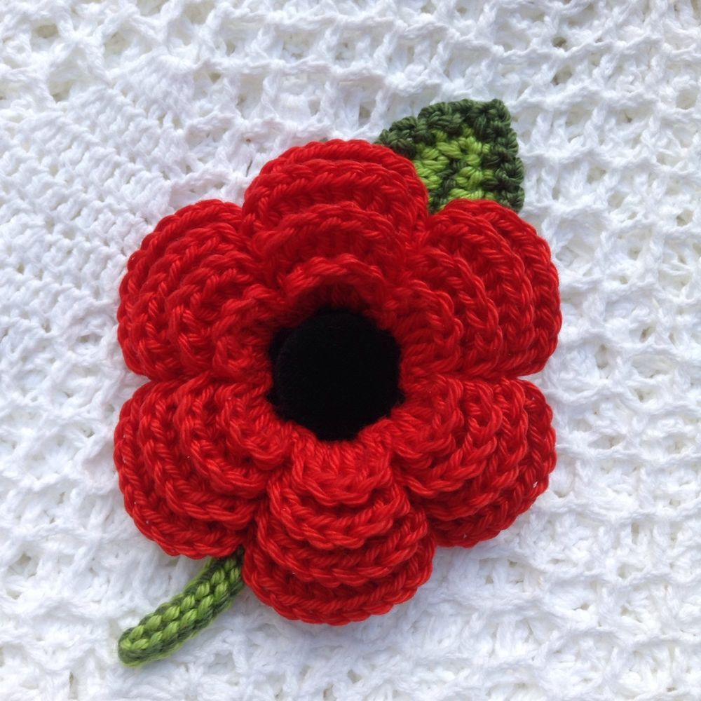 Crochet Flower/Poppy Brooch, Cotton Velvet Button, 8-8.5cm | Flores ...