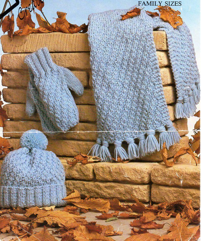 Vintage Ladies Mens Chunky Hat Scarf Mitts Knitting Pattern Pdf