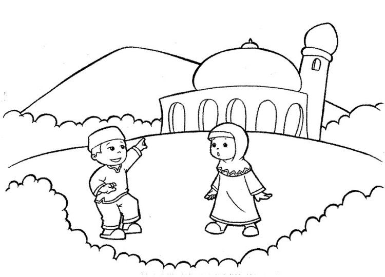 11 Contoh Mewarnai Gambar Masjid Sederhana Untuk Paud Tk Dengan