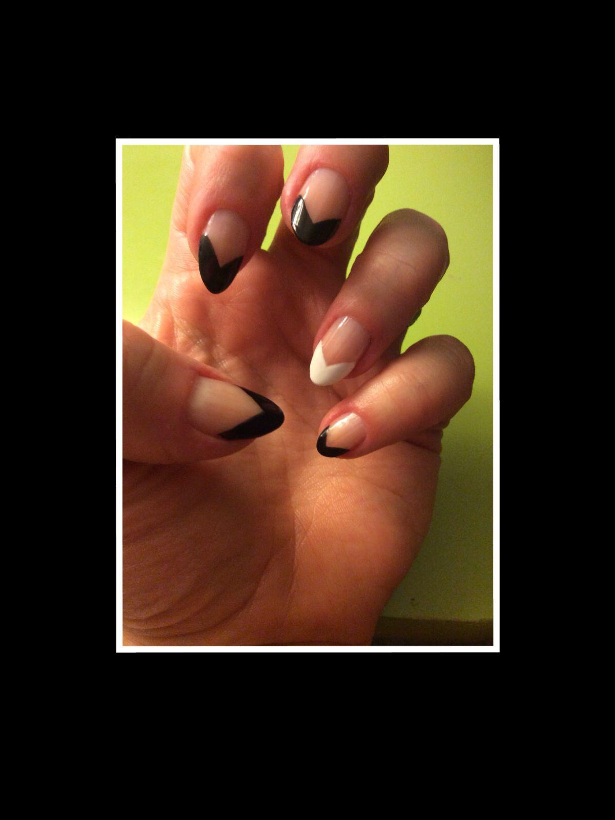 Black pointed French tip nails stilettonails stiletto nails almond ...