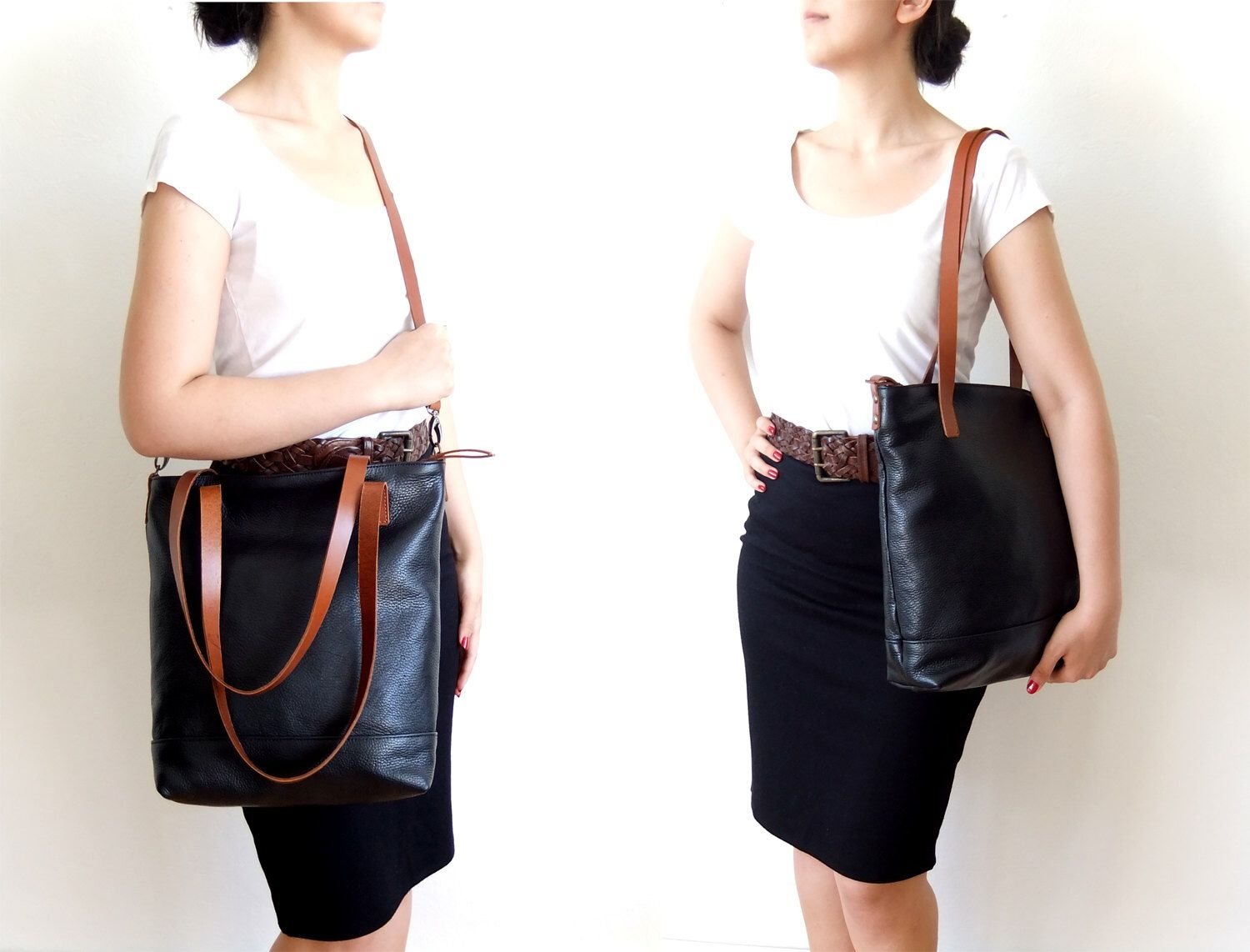 Leather Tote Bag in Black - Light Brown Leather Handles ...