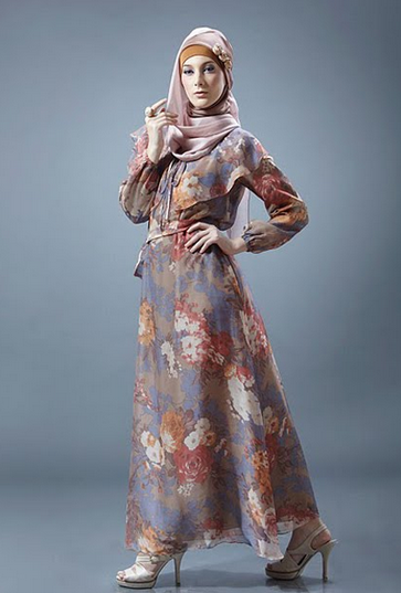 Long Dress Muslim Motif Bunga  5831dc4ba9