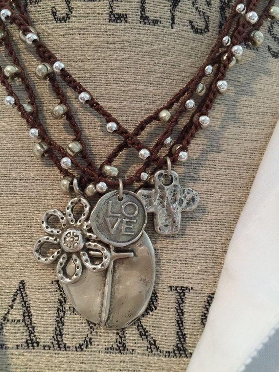 Crochet boho style LOVE silver dainty necklace bohemian glam versatile jewelry by Marleelovesroxy