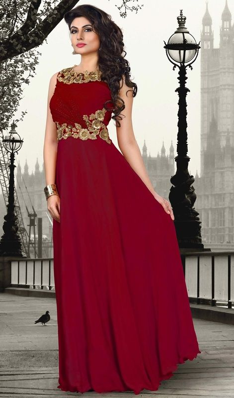 Redefine Beauty With This Maroon Color Shade Chiffon And Crepe