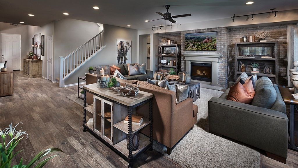 Gray And White Transitional Rustic Living Room With: Rustic Living Room With Carpet, Metal Fireplace, Malibu