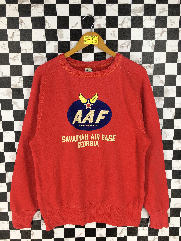Vintage 90 S Buzz Rickson Japan Crewneck Jumper Large Savvanah Air Base Us Army Air Force Mccoys Japan Red Red Pullover Sweater Red Pullover Vintage Sportswear [ 3000 x 2250 Pixel ]