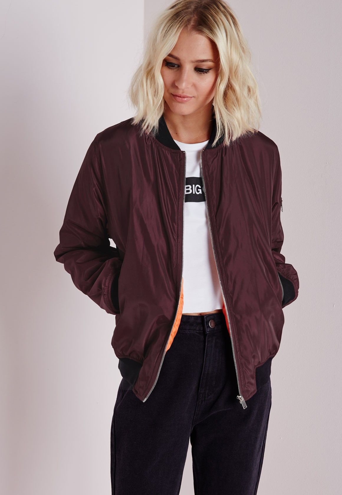 Silky Padded Bomber Jacket Oxblood - Coats & Jackets - Bomber ...