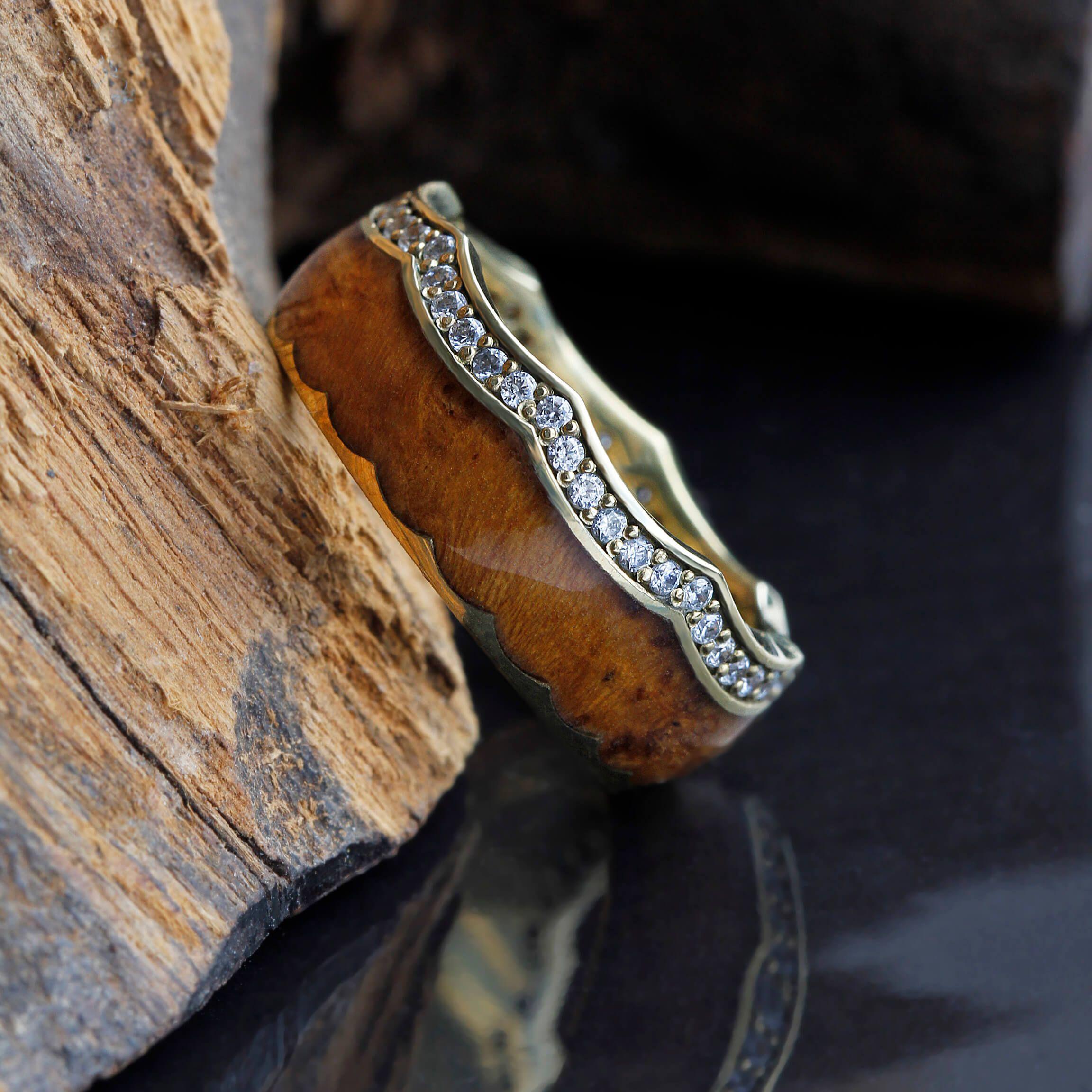 Diamond Eternity Wedding Band, Teak Wood Crown Ring With
