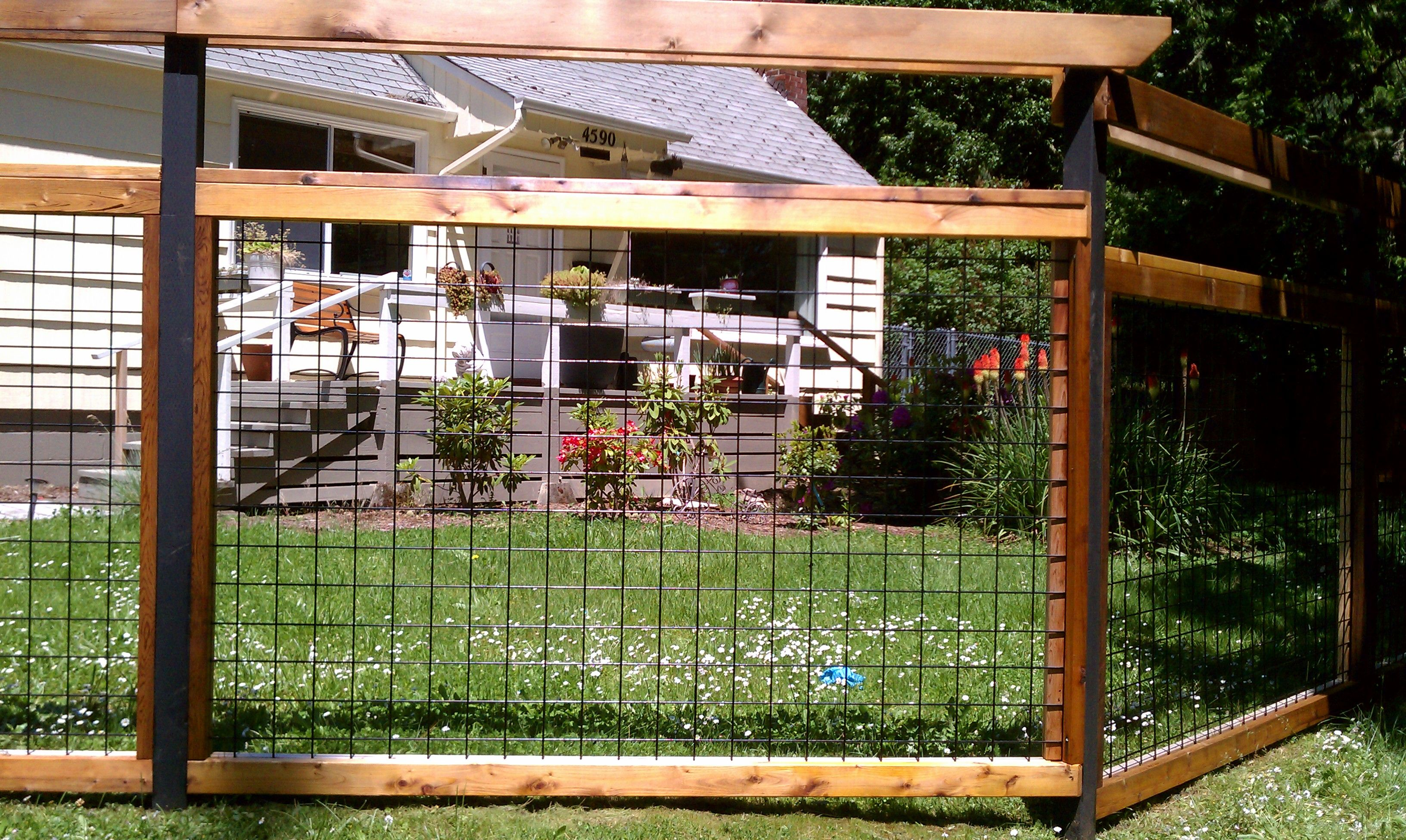 Fences that have a wire mesh panel framed in wood are be ing very