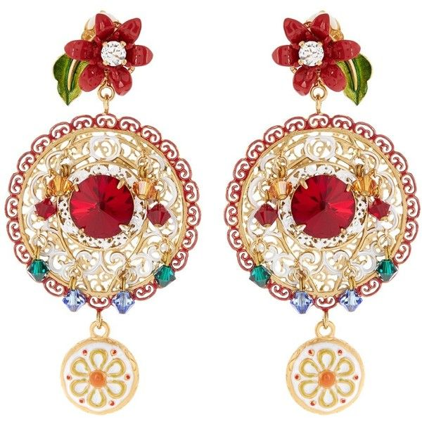 Dolce & Gabbana Filigree embellished hoop earrings (13.330 ARS) ❤ liked on Polyvore featuring jewelry, earrings, flower stud earrings, sparkly earrings, hoop earrings, red hoop earrings and gold tone jewelry