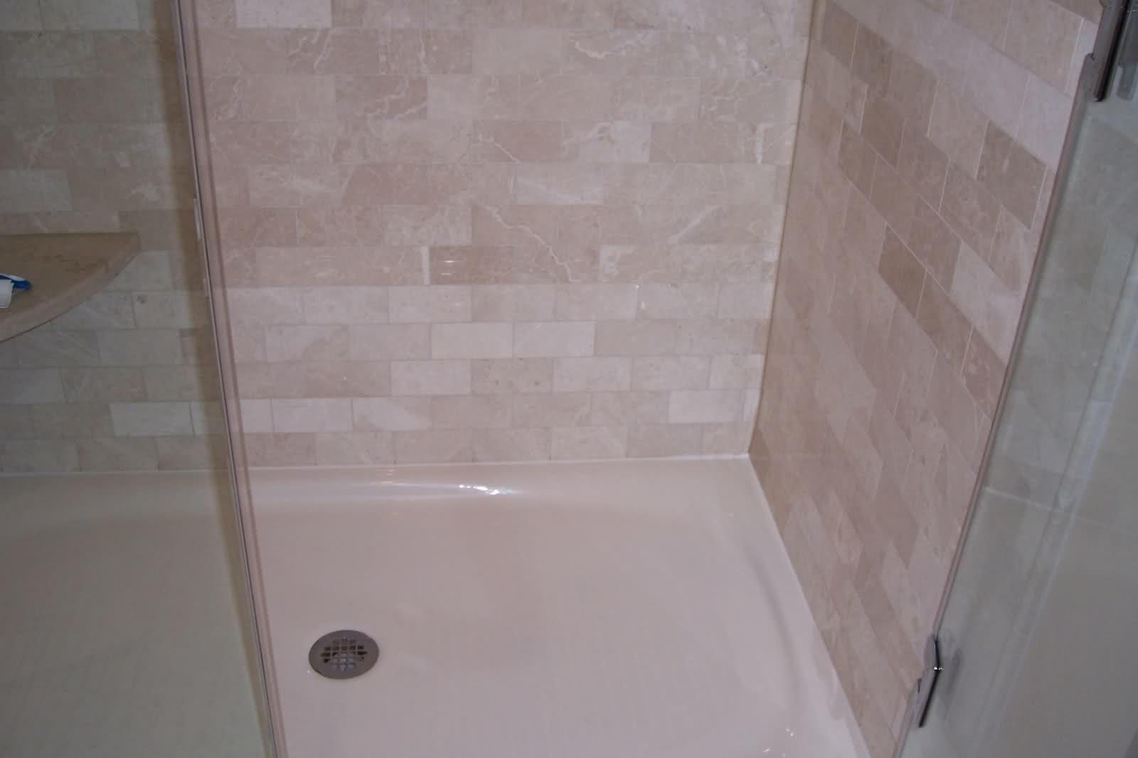 Kohler Salient Corner Shelf At Low Height For Legs Marble Subways Frameless Door Cultured Marble Shower Walls Bathroom Wall Tile Fiberglass Shower