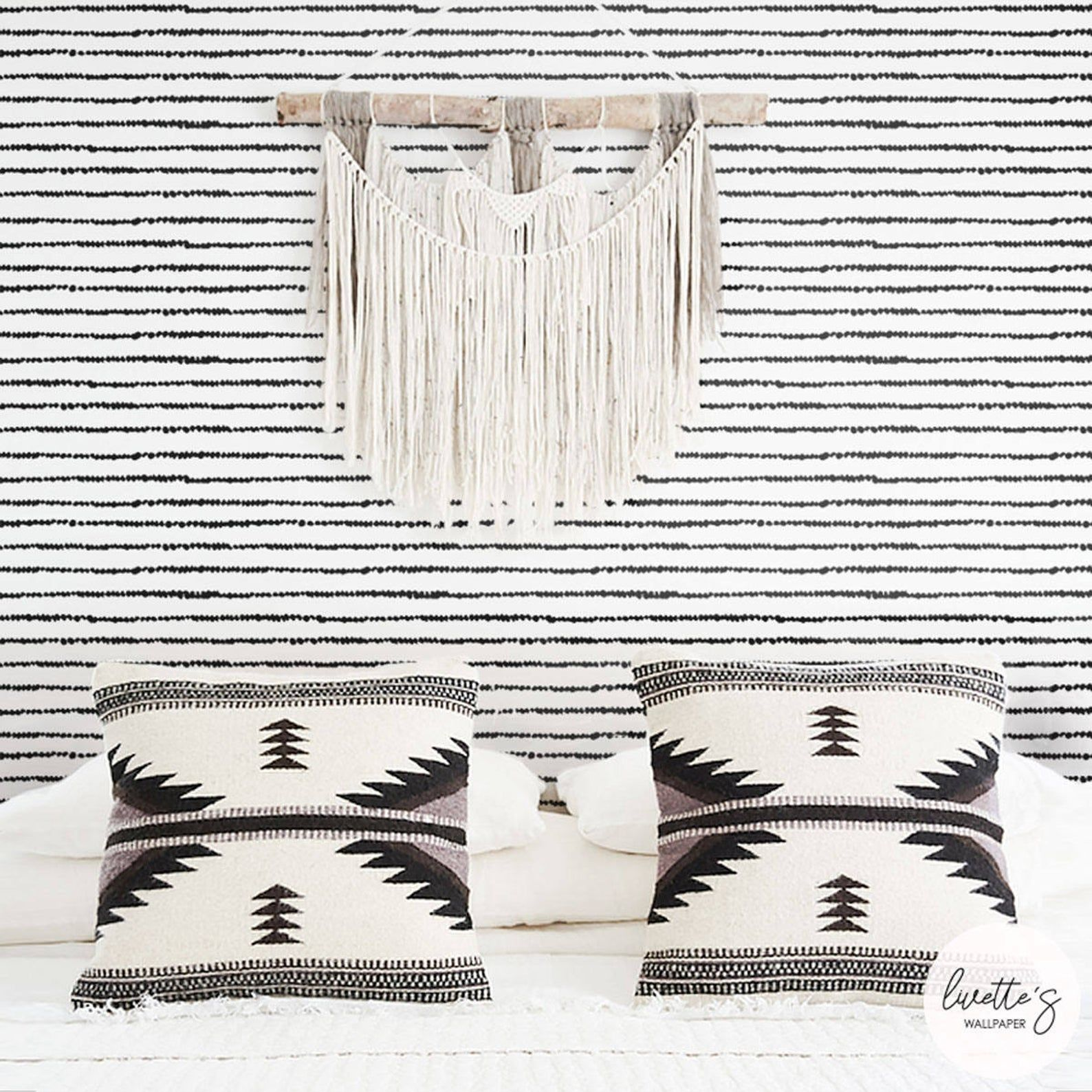 Photo of Stripe Boho Chic Wallpaper, Bohemian Wall Hanging, Removable Peel and Stick or Traditional Option – Home Decor