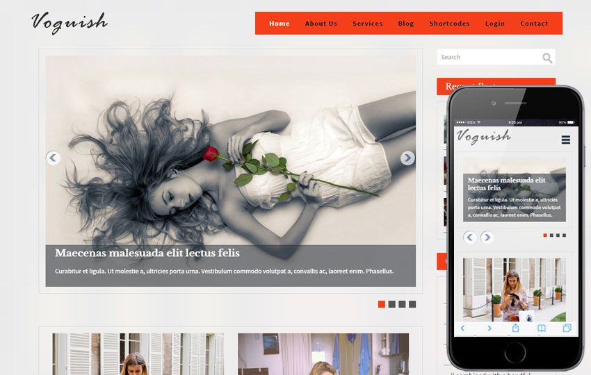 Voguish A Blogging Bootstrap Template Blog Template Responsive Design Template Templates