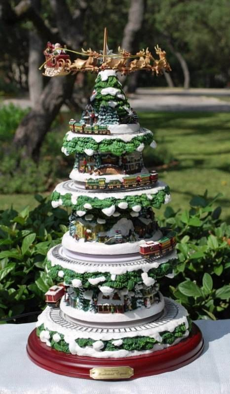 Details About Thomas Kinkade Holiday Reflections Christmas Tree With