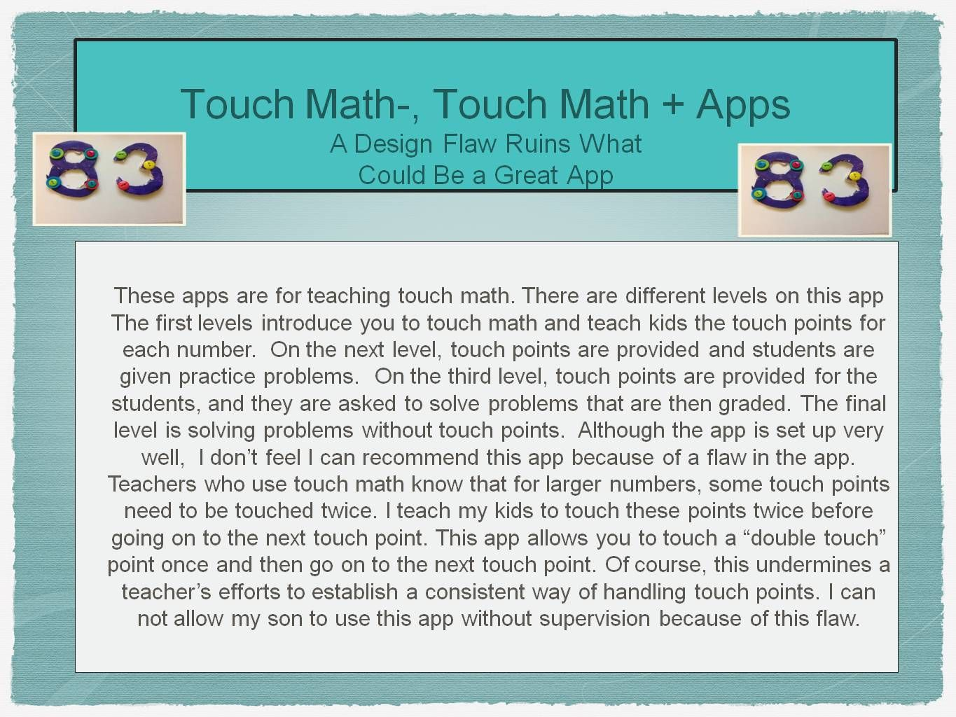 These touch math numbers are made from foam and buttons. Cheaper and ...