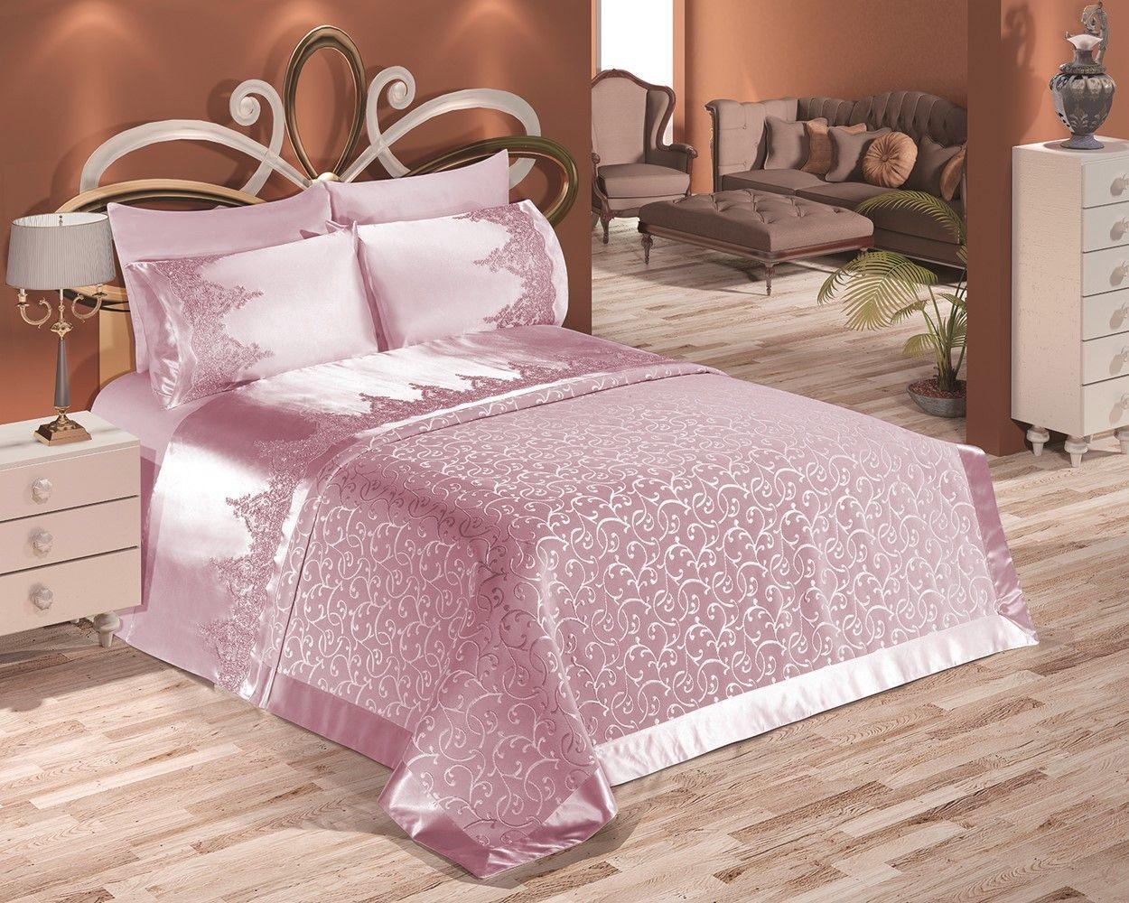 couvre lit miranda 6 pieces rose couvre lit couvre lit rose iklil espace deco iklil. Black Bedroom Furniture Sets. Home Design Ideas