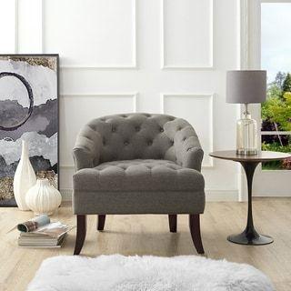 Awe Inspiring Shop For Inspired Home Sarah Linen Barrel Diamond Tufted Inzonedesignstudio Interior Chair Design Inzonedesignstudiocom