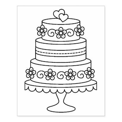 Tiered Wedding Cake Coloring Page Rubber Stamp Zazzle Com In 2021 Wedding Coloring Pages Food Coloring Pages Disney Coloring Pages Printables