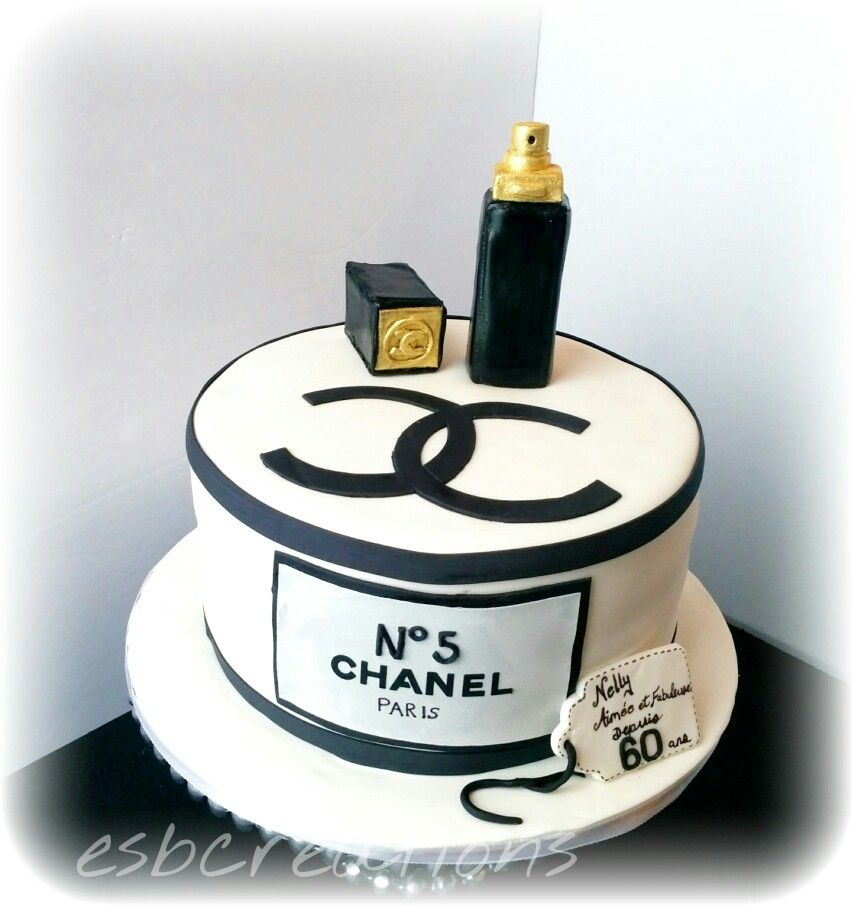 Classy Black And Gold Chanel Cake With Perfume Bottle Let There