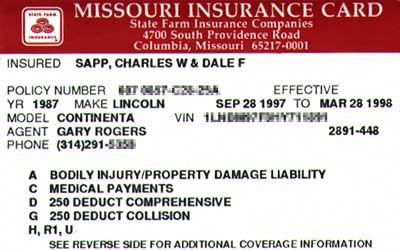 Insurance Auto Insurance Insurance Card