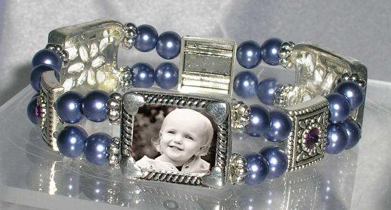 Purple Pearl Picture Frame Bracelet Wedding Memorial Keepsake