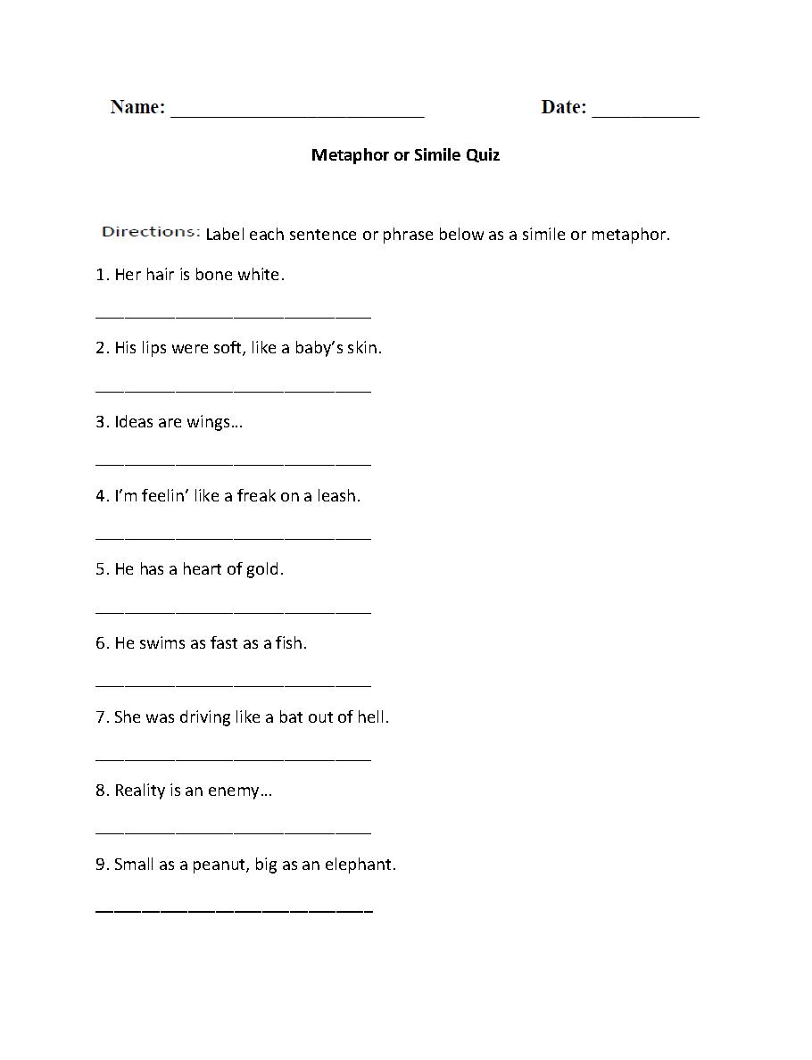 Metaphor or Simile Quiz Worksheet   Similes and metaphors [ 1188 x 910 Pixel ]