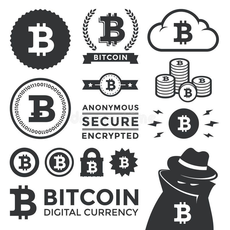 Bitcoin Design Elements And Labels. Illustration Of