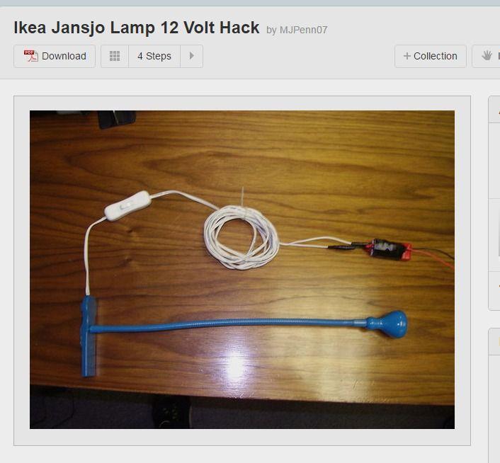 Ikea Jansjo Lamp 12 Volt Hack Hacks Lamp Ikea