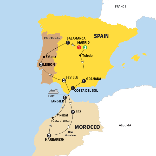 Detailed Map Of Spain Portugal And Morocco.Spain Morocco And Portugal 16 Day Trafalgar Regular Travel