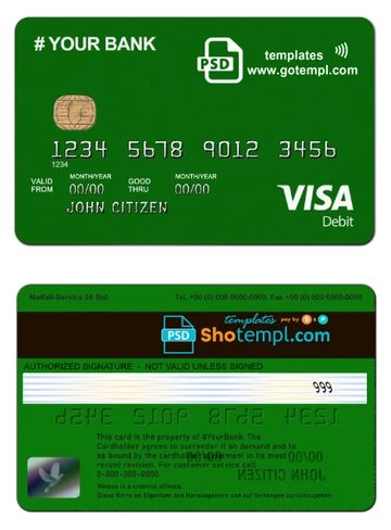 On Point Green Card Universal Multipurpose Bank Card Template In Psd Shotempl Com Templates Bank Card Card Template Green Cards