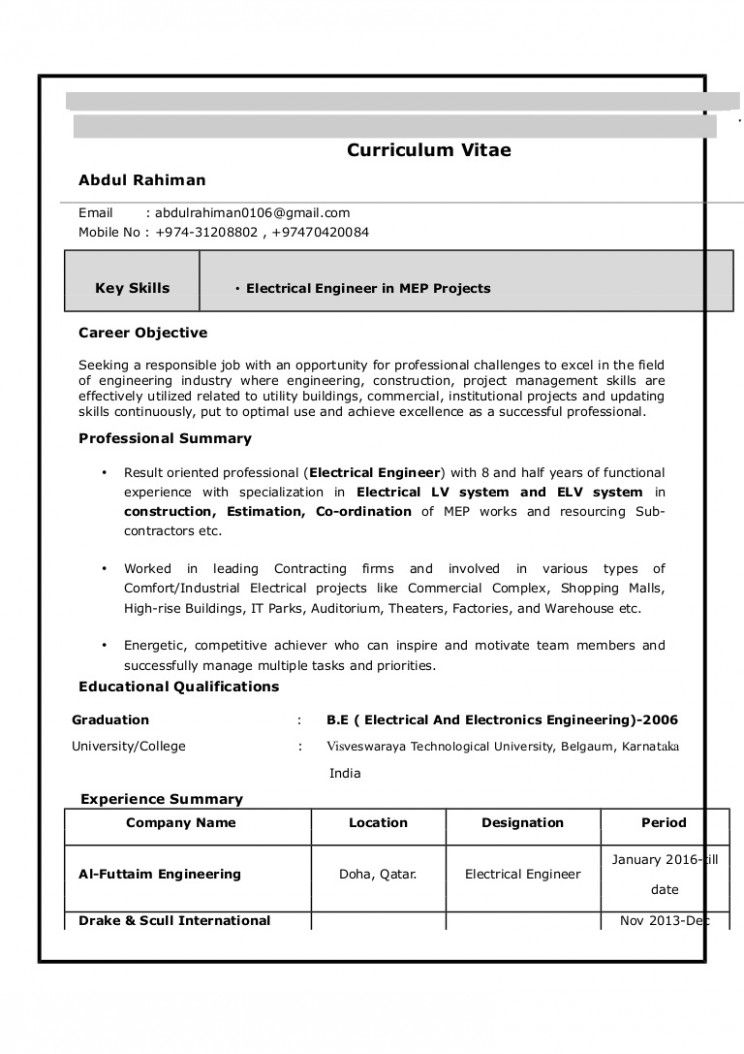 15 Electrical Engineer Resume Mannequin