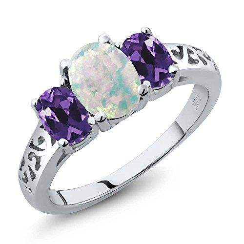 Oval Shape Amethyst with White Topaz Gemstone 925 Sterling Silver Solitaire Ring