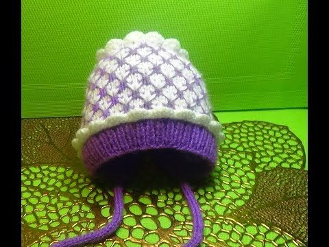 1) Вязание спицами шапочка на выписку  150 - YouTube  3dbdcc301c006