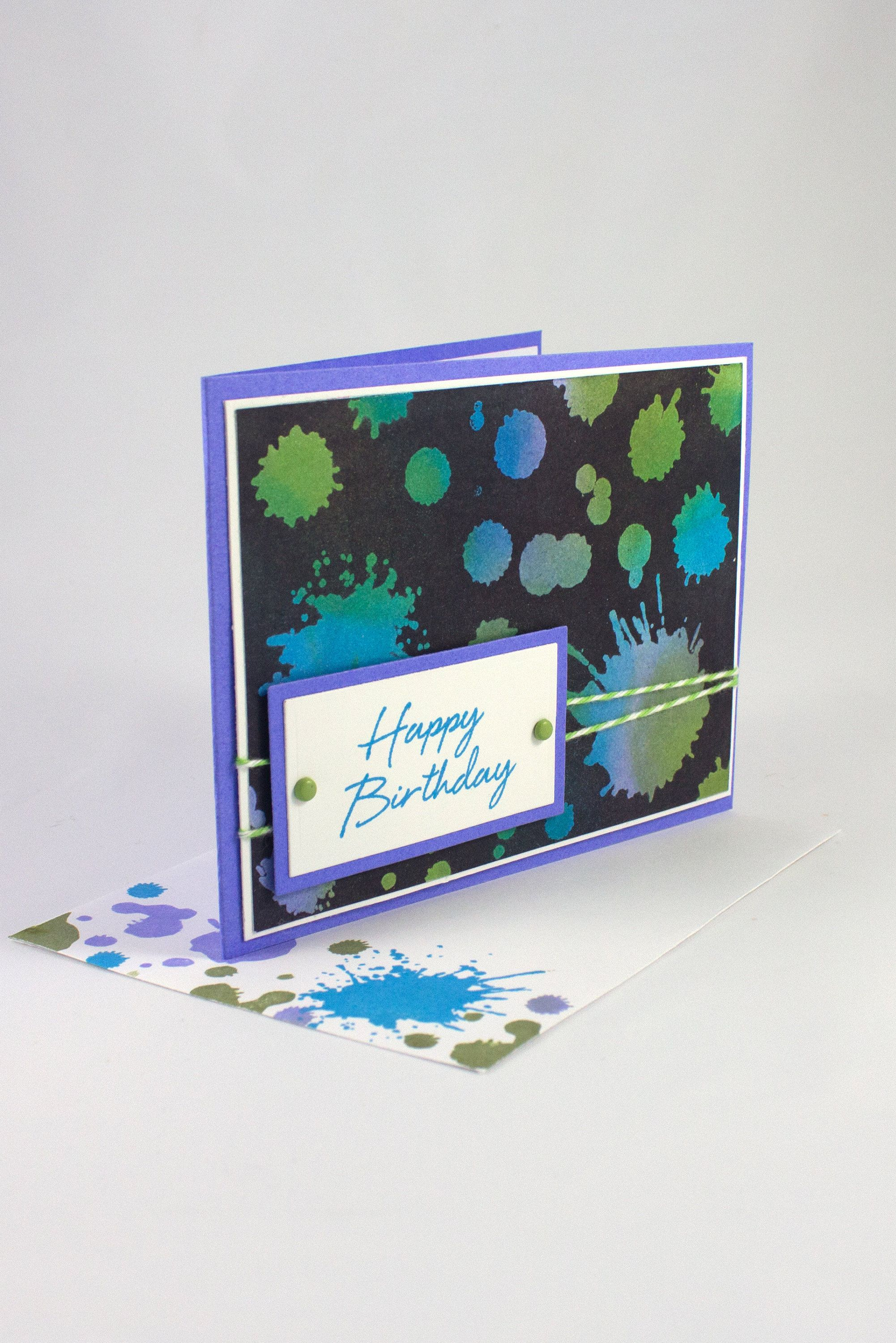 Birthday Card With Splatter Design Handmade Kids Birthday Card