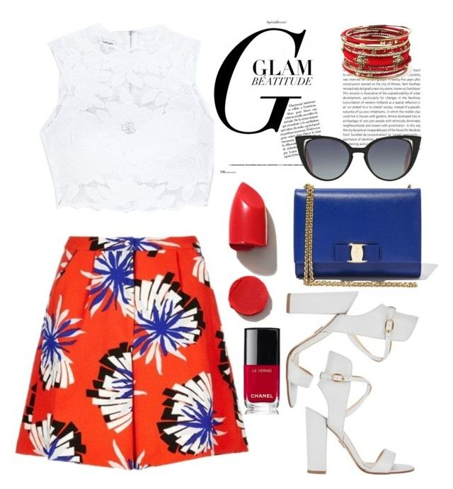 Summer Fest by nkorenevska on Polyvore featuring polyvore fashion style Bebe TTYA Paul Andrew Salvatore Ferragamo Amrita Singh Fendi NARS Cosmetics Chanel Oris clothing