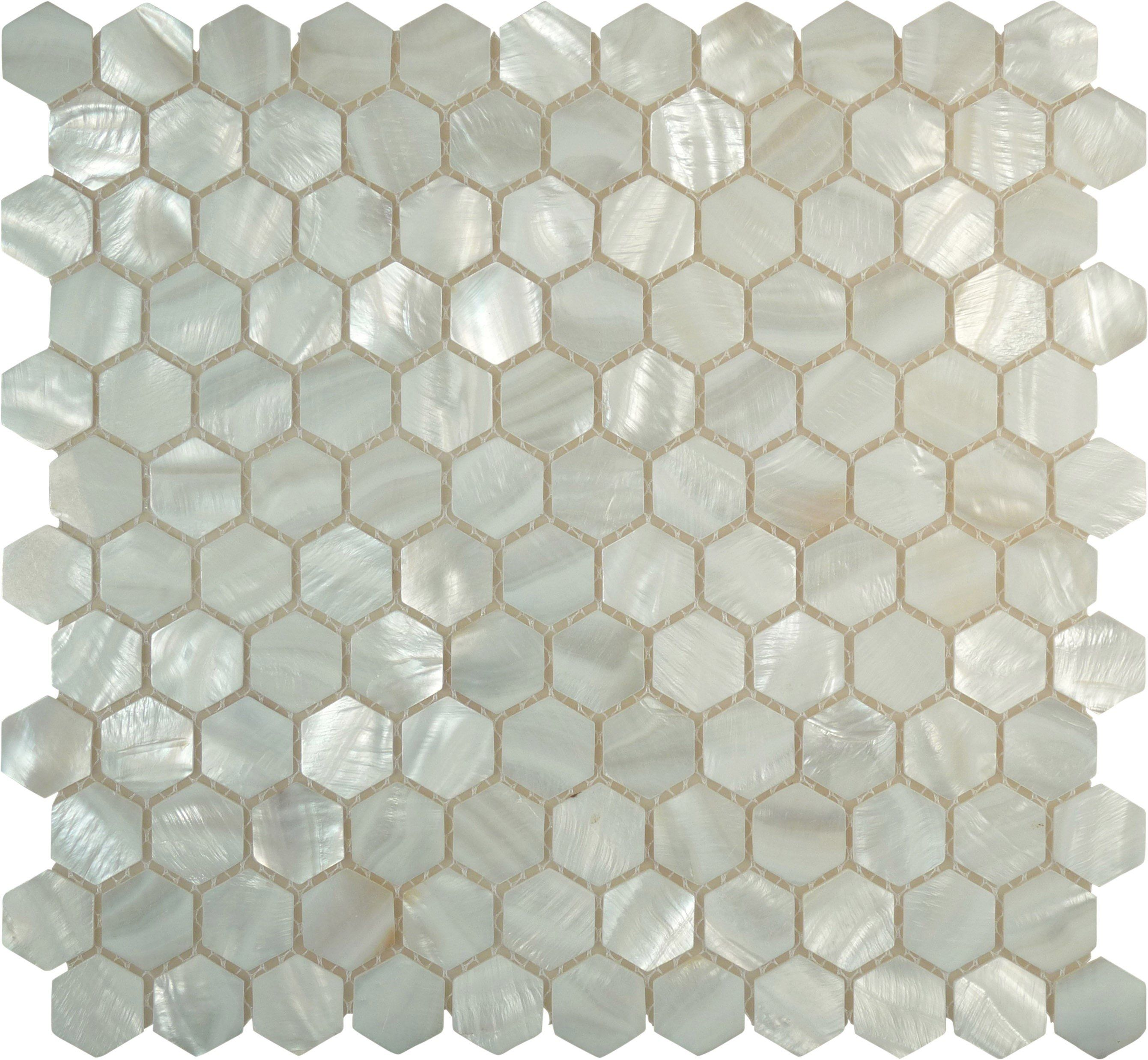 Sheet Size 11 X 11 1 2 Tile Size 1 X 1 Tile Thickness 1 8 Nominal Grout Joints 1 8 Sheet Mount Mesh Backed Pearl Tile Hexagon Tiles Shell Tiles