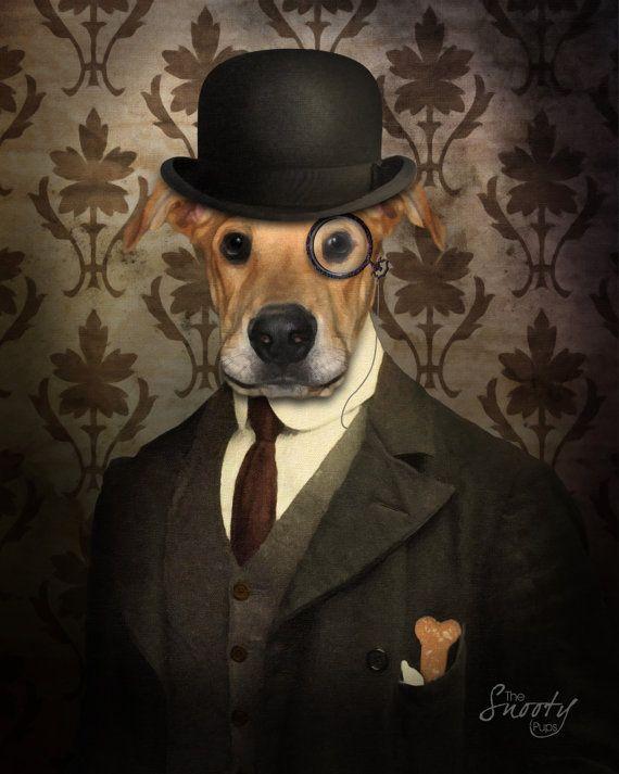 70d80e19361dd PET PORTRAIT Bowler Hat Custom Dog Portrait. by CustomPetPrints