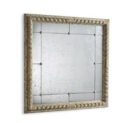 A series of dainty brass rosettes intersect with 16 mirrored panels on our Gold Framed Paneled Mirror, creating a windowpane effect. The narrow gilt wood    frame adds appeal to this unique room-enhancing piece.            Multiple mirrored composition                Vertical or horizontal display                Arrives ready to hang