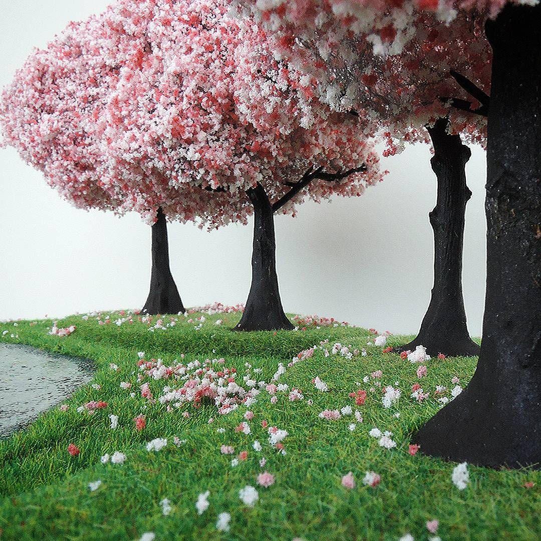 Cherry Blossoms Around A Pond Cherryblossom Terrain Terrainiac Trees Nature Miniaturepainti Miniature Painting Cherry Blossom Games Workshop
