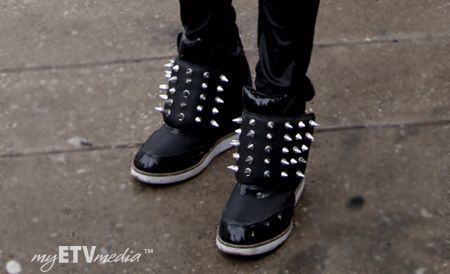 Spike sneaker wedges