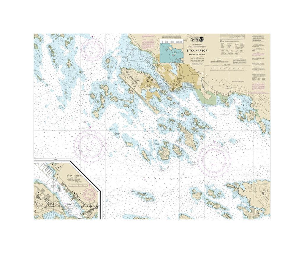 Sitka Harbor And Approaches Nautical Chart Sailcloth Print Nautical Chart Sitka Sailing Outfit