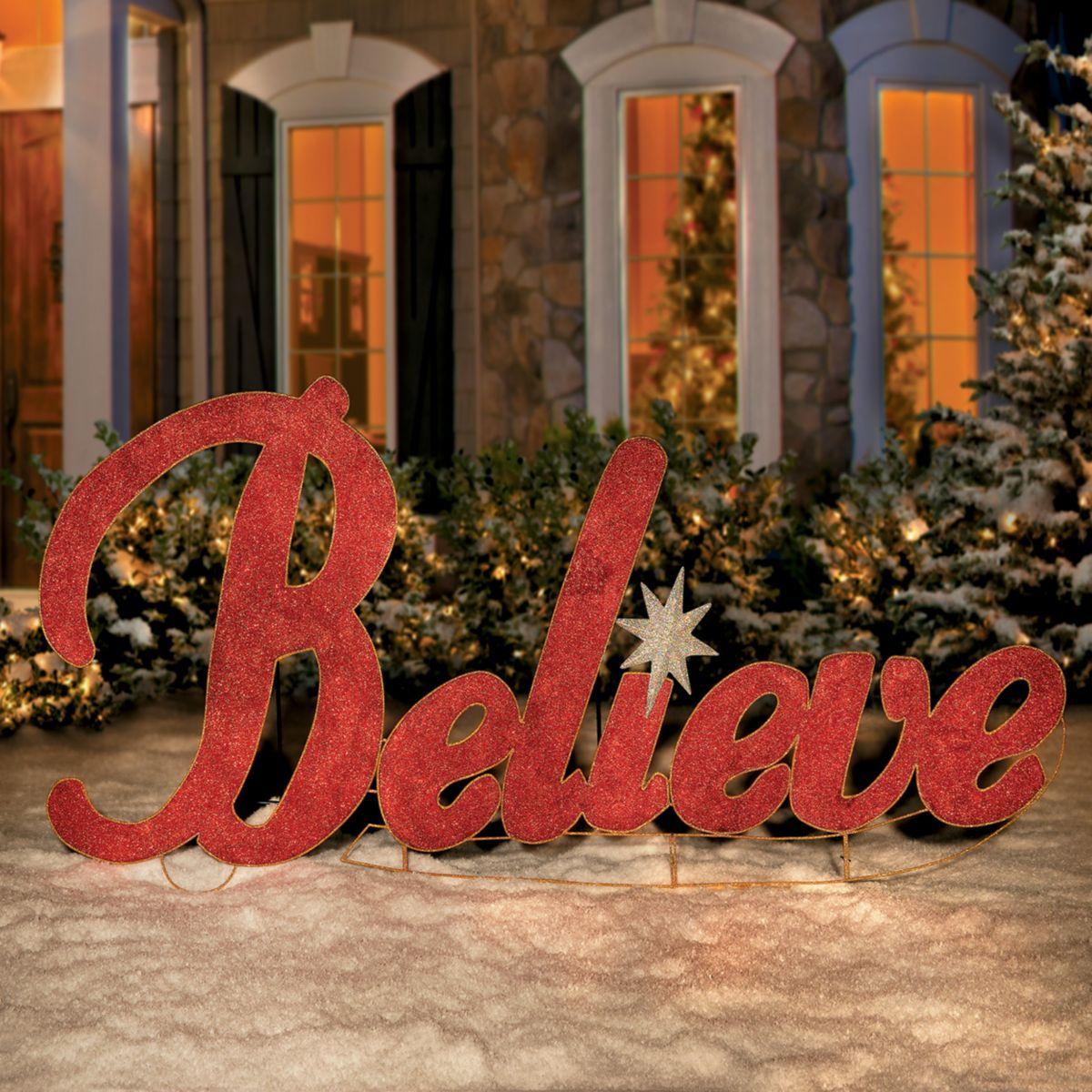 Metal Believe Christmas Yard Decor Christmas Yard Decorations Outdoor Christmas Decorations Christmas Decorations