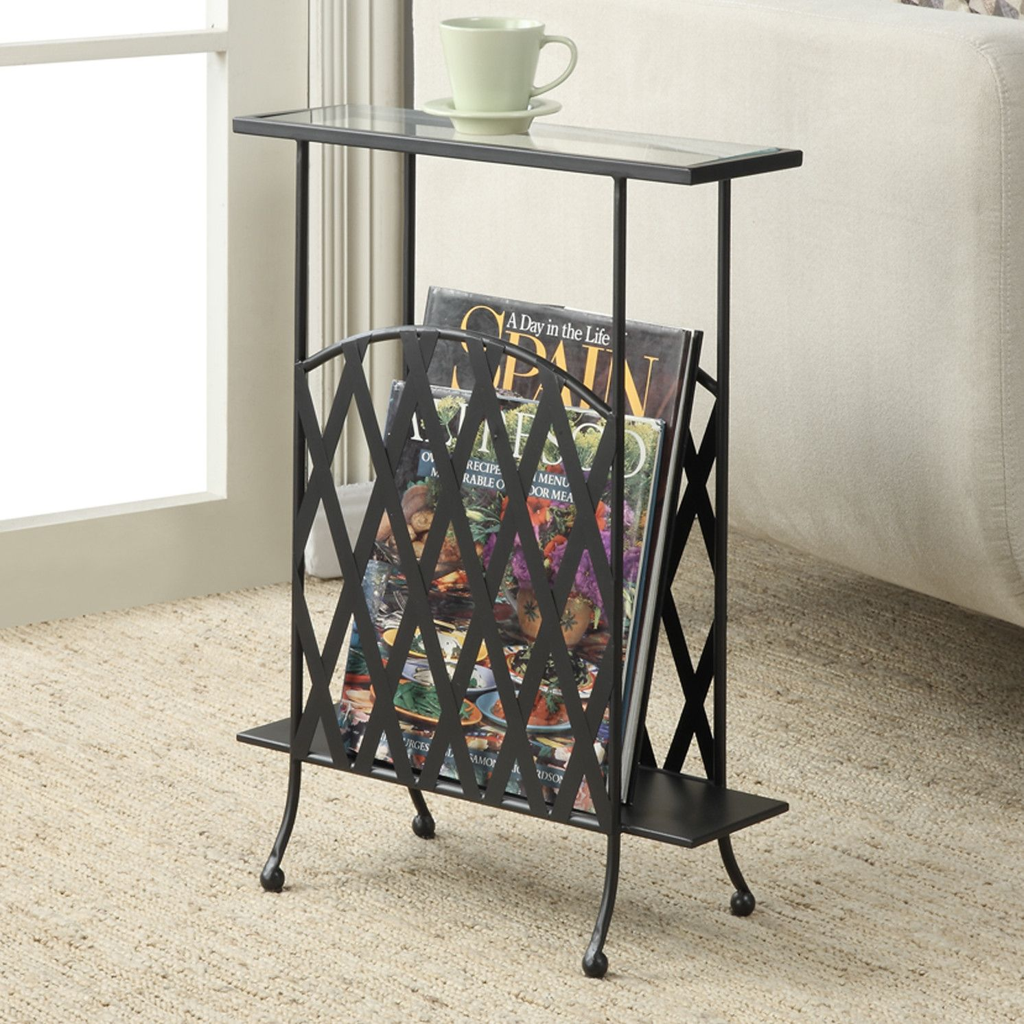 Convenience Concepts Wyoming Glass Top Chair Side Table Keep your favorite books and magazines stored right beside your favorite chair with the